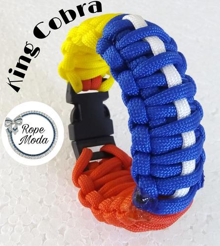 pulsera tricolor paracord king cobra triple snake brazalete