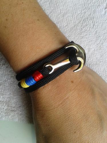 pulsera tricolor venezuela paracord clipclap anclas variadas