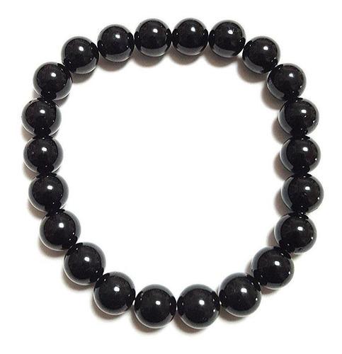 pulsera turmalina negra cuentas de 8 mm. protección