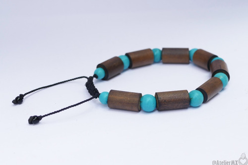 pulsera turquesa y bambú