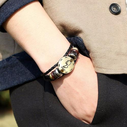 pulsera unisex hombre mujer signo geminis de cuero elegante