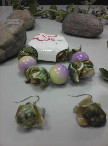 pulsera  y sarcillos de dama concha marinas verde y morado