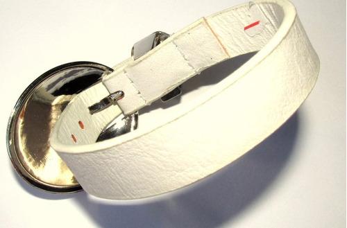 pulsera/brazalete de cuero blanco/unisex/hebilla oval