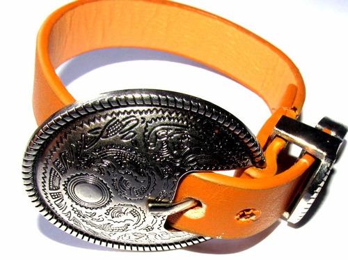 pulsera/brazalete de cuero camel/unisex/hebilla oval