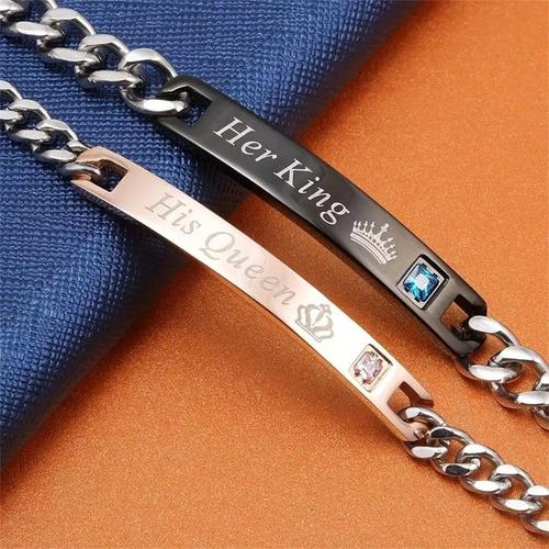 pulseras 2 manillas exclavas regalo pareja acero  + obsequio