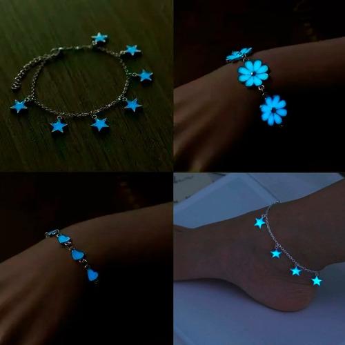 pulseras corazón flor estrellas brilla en la oscuridad