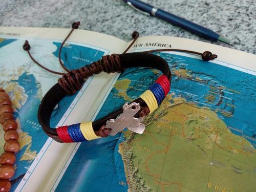 pulseras cuero venezuela paracord ancla tricolor