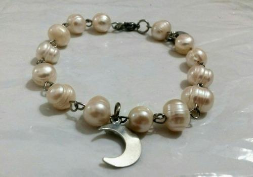 pulseras de acero con perlas de río