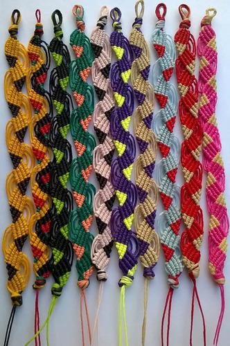 pulseras de hilo encerado artesanales - modelo: pink