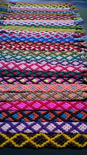 pulseras de hilo encerado artesanales - modelo: rombo