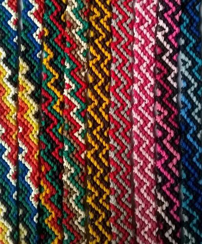 pulseras de hilo encerado artesanales - modelo: zig-zag