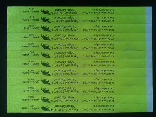 pulseras de papel tyvek personalizadas para eventos