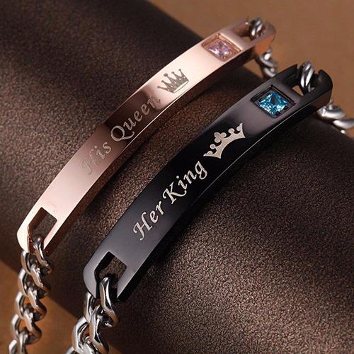 pulseras de pareja rey y reina de acero inoxidable(par)