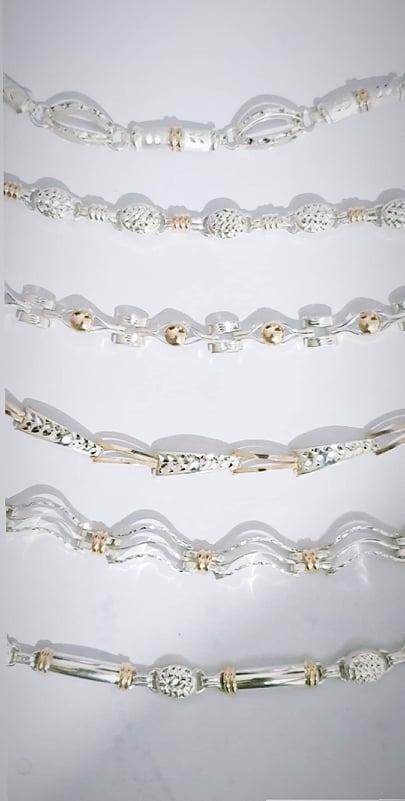 b7682be0bb57 pulseras de plata 950 con oro 18k - dia de la madre joyas. Cargando zoom.