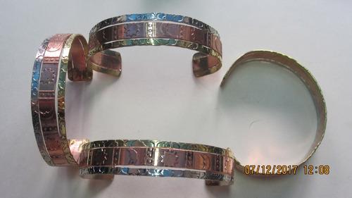pulseras de soles y lunas de cobre latton y alpaca c0082