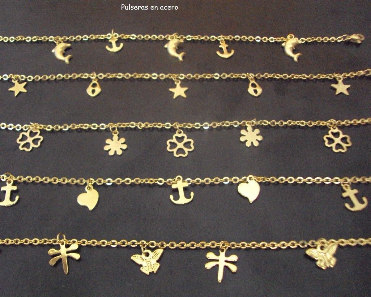 7e5134acc pulseras doradas en acero mayor y detal tobillera niña. Cargando zoom.