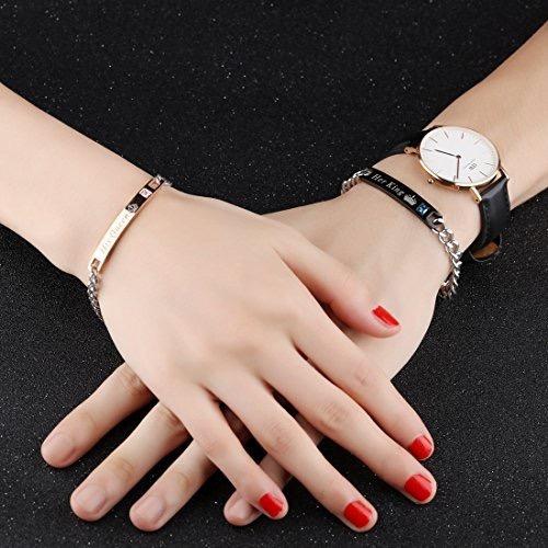pulseras esclavas para parejas king queen acero inox regalo