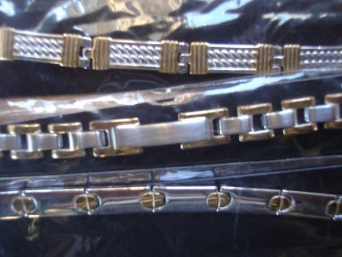 pulseras gruesas acero quirurgico con dorado griega hombre