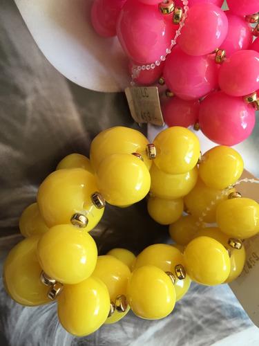 pulseras hermosas rosa y amarilla