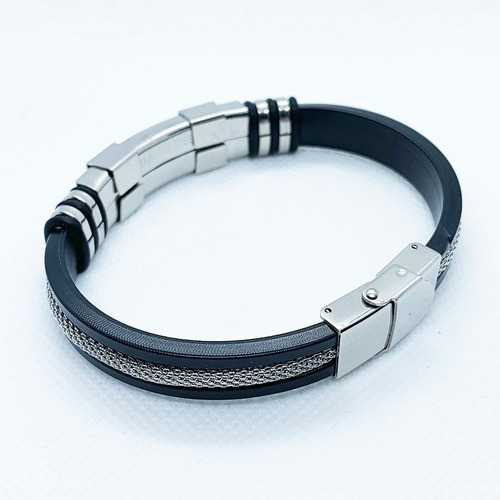 pulseras hombre acero inoxidable ajustable negro / plata
