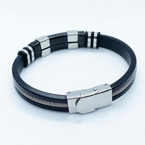 pulseras hombre acero inoxidable ajustable negro / silicona