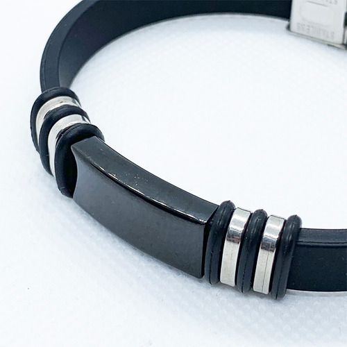 pulseras hombre acero inoxidable ajustable plata centronegro
