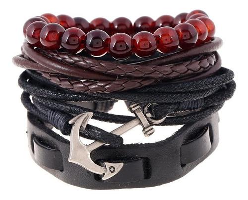 pulseras hombre ancla cuerda piel coleccion de 4 por  $198