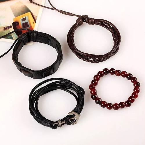 pulseras hombre ancla cuerda piel colección de 4* pulseras*