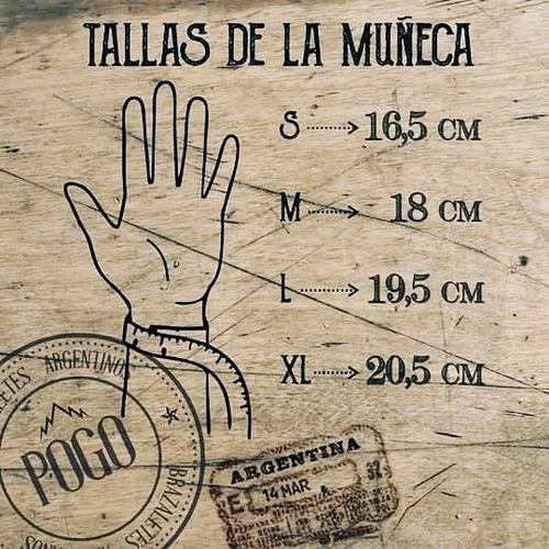pulseras hombre brazalete con cuero 3en1 pogo ancla 10%off
