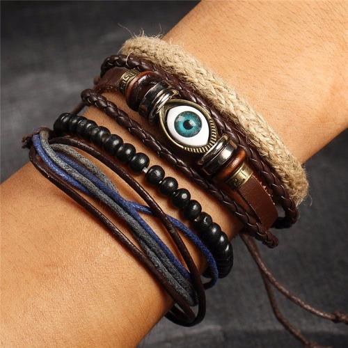 pulseras hombre, coleccion 5 modelos, ojo turco, ancla