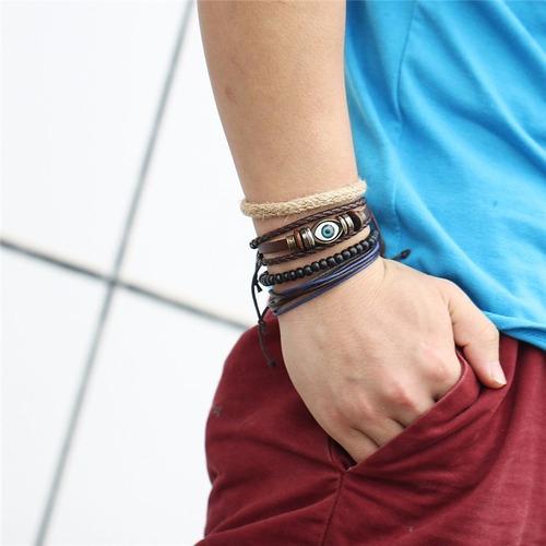 pulseras hombre, coleccion de 4 piel, cuerda oferta $198
