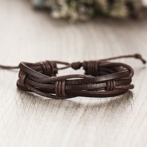 pulseras  hombre colección de 5 piel y cuerda