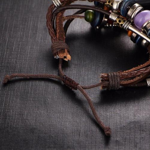 pulseras hombre, de ojo turco, ancla cuerda, piel cuero