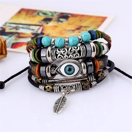 pulseras hombre, de ojo turco,ancla cuerda,piel *5 pulseras*