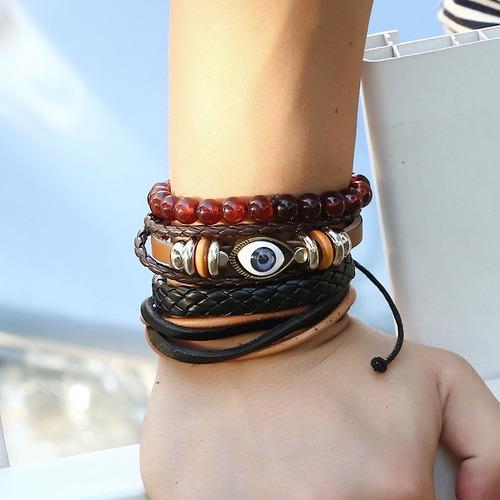 pulseras hombre unisex de ojo turco piel genuina ajustable