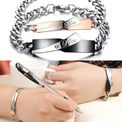 pulseras love para el y para ella de acero inoxidable 316 l
