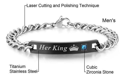 pulseras manillas exclavas regalo pareja acero king queen