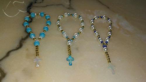 pulseras mini rosarios denarios, de swaroski cheko, recuerdo