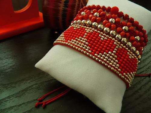 pulseras mostacillas estilo miyuki corazon moda leliart
