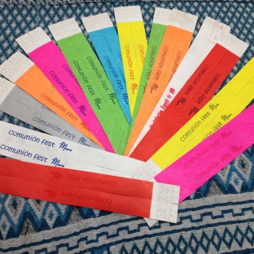 pulseras papel tyvek lisas entrega lunes a lunes