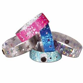 951b04e599f6 Pulseras Para Eventos Tyvek Vinilo Pvc Glitter