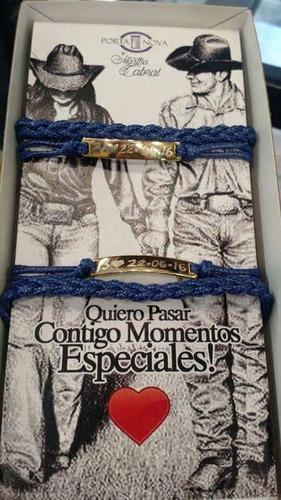 pulseras para pareja de plaquitas grabadas chapa de oro