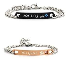 vendible garantía limitada tienda Pulseras Para Pareja King And Queen Rey Reina Novio Regalo