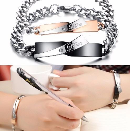 pulseras para parejas love, amor titanio