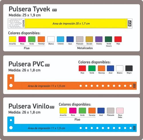 pulseras personalizadas eventos papel tyvek acceso total vip