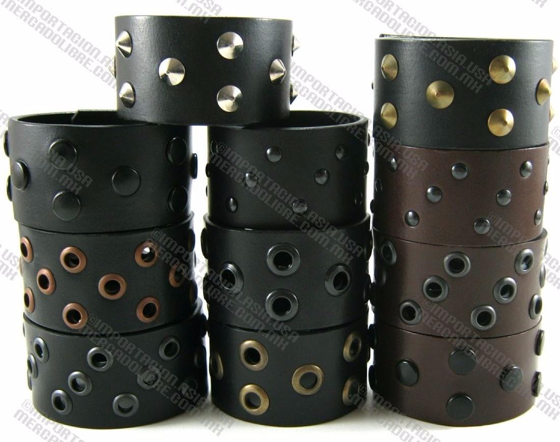 0b8bfba8fca7 pulseras piel faux leather brazaletes muñequeras picos talla. Cargando zoom.