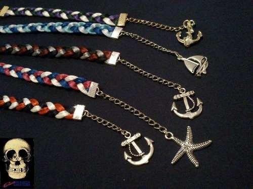 pulseras trenzadas con dijes nauticos ancla pin up sailor