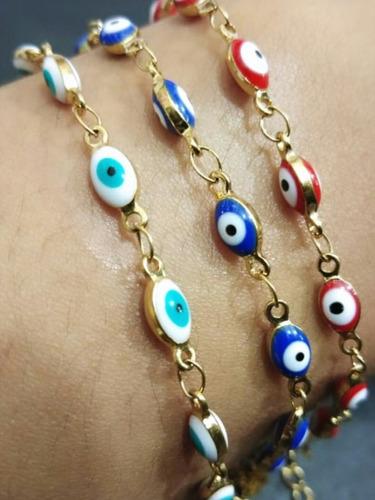 pulseras y tobilleras  de ojo turco acero inoxidable