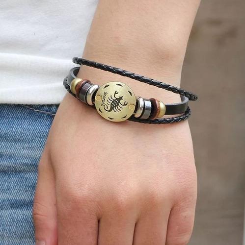 pulseras zodiacal signo parejas hombre y mujer cuero vintage