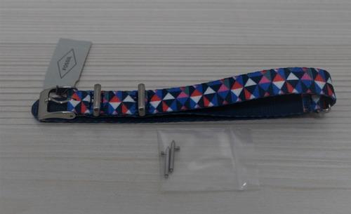 pulso de nylon fossil de mujer 14mm azul